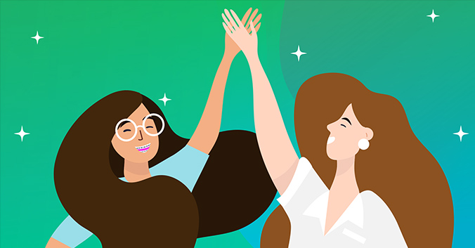 Two women high-fiving. One has braces.
